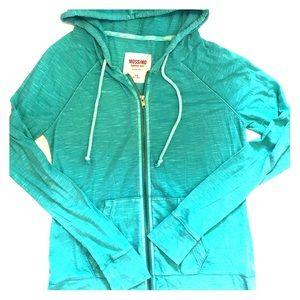 Teal zip up Mossimo hoodie